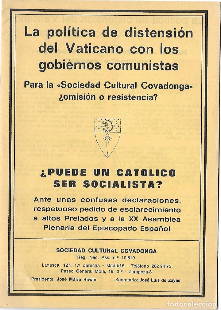 LIBRRETO DE 16 HOJAS. LA POLITICA DE DISTENSION DEL VATICANO CON LOS GOBIERNOS COMUNISTAS. 1976 (Libros de Segunda Mano - Pensamiento - Política)