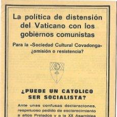 Libros de segunda mano: LIBRRETO DE 16 HOJAS. LA POLITICA DE DISTENSION DEL VATICANO CON LOS GOBIERNOS COMUNISTAS. 1976. Lote 82961108