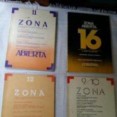 Libros de segunda mano: LOTE 4 NÚMEROS ZONA ABIERTA AÑOS 77 / 78. Lote 84686686