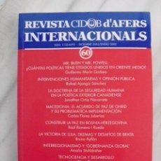 Libros de segunda mano: REVISTA CIDOB D'AFERS INTERNACIONALS. Nº 60. DICIEMBRE 2002/ENERO 2003.. Lote 88185116