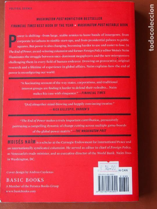 Libros de segunda mano: Moisés Naím - The End of Power - Basic Books - New York - Foto 3 - 90747435