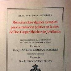 Libros de segunda mano: MEMORIA SOBRE ALGUNOS EJEMPLOS PARA LA TRANSICIÓN POLÍTICA EN LA OBRA DE JOVELLANOS. Lote 93191870