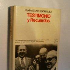 Libros de segunda mano: TESTIMONIOS Y RECUERDOS. SAINZ RODRIGUEZ PEDRO. 1978. Lote 96463527
