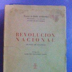 Libros de segunda mano: REVOLUCION NACIONAL PUNTOS DE FALANGE ESPAÑOLA JONS JOSE ANTONIO PRIMO DE RIVERA SINDICALISMO. Lote 101165807