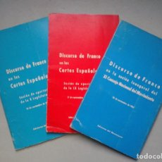 Libros de segunda mano: LOTE DE 3 DISCURSOS DE FRANCO EN LAS CORTES ESPAÑOLAS.. Lote 107123571