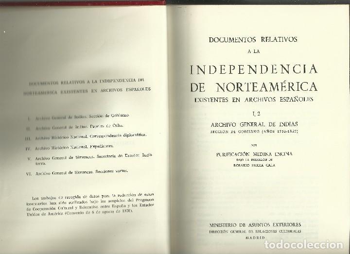 DOCUMENTOS RELATIVOS A LA INDEPENDENCIA DE NORTEAMÉRICA (Libros de Segunda Mano - Pensamiento - Política)