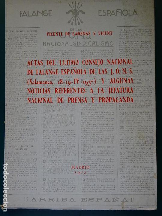 LIBRO DE POLÍTICA. ACTAS CONSEJO NACIONAL FALANGE ESPAÑOLA DE LAS JONS SALAMANCA 1937. 300 GR (Libros de Segunda Mano - Pensamiento - Política)