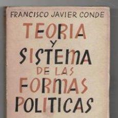 Livres d'occasion: TEORÍA Y SISTEMA DE LAS FORMAS POLÍTICAS, FRANCISCO JAVIER CONDO. Lote 119427930