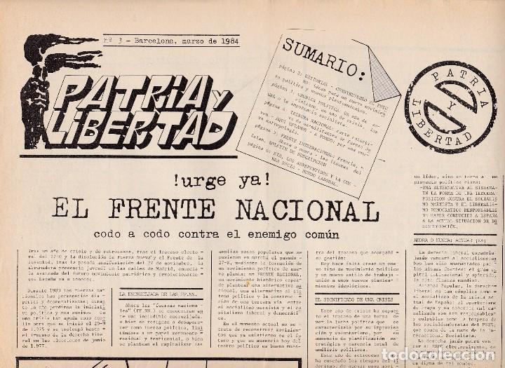 PATRIA Y LIBERTAD, NÚM. 3. MARZO DE 1984.. FASCISMO. (Libros de Segunda Mano - Pensamiento - Política)