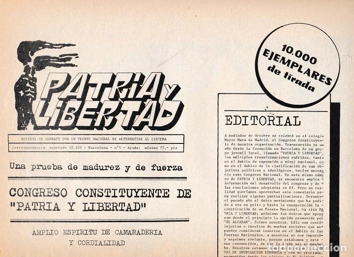 PATRIA Y LIBERTAD, NÚM. 5. 1984. FASCISMO. (Libros de Segunda Mano - Pensamiento - Política)