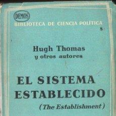 Libros de segunda mano: HUGH THOMAS Y OTROS : EL SISTEMA ESTABLECIDO - THE ESTABLISHMENT (ARIEL, 1962). Lote 123339463
