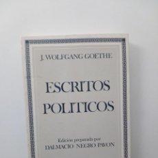 Livres d'occasion: ESCRITOS POLÍTICOS - J. WOLFGANG GOETHE (EDITORA NACIONAL, 1982). Lote 124088779