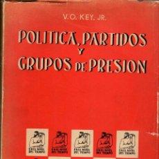 Libros de segunda mano: POLÍTICA, PARTIDOS Y GRUPOS DE PRESIÓN / V.O. KEY. Lote 126425219