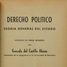 Libros de segunda mano: DERECHO POLÍTICO, TEORIA GENERAL DEL ESTADO. I DERECHO POLÍTICO, EL NUEVO ESTADO ESPAÑOL. - CASTILLO. Lote 123173500