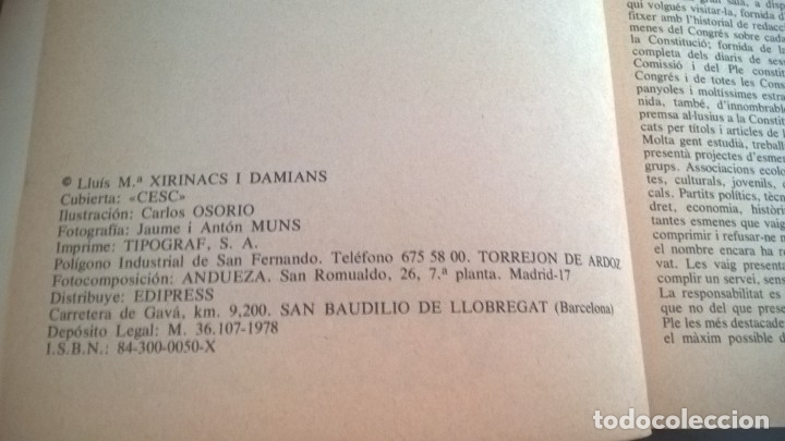 Libros de segunda mano: CONSTITUCIÓ PAQUET D´ESMENES. LLUÍS MARÍA XIRINACS. - Foto 6 - 132916059
