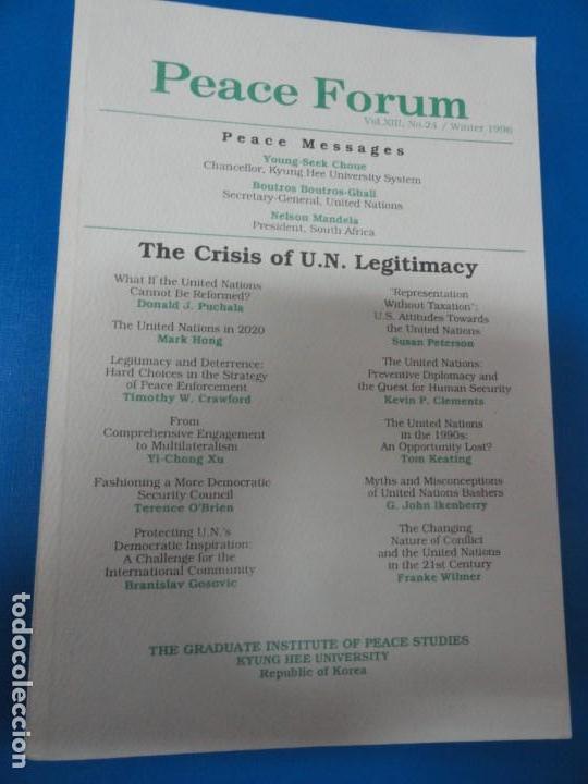 THE CRISIS OF THE UN LEGITIMACY - PEACE FORUM (Libros de Segunda Mano - Pensamiento - Política)