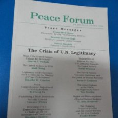 Libros de segunda mano: THE CRISIS OF THE UN LEGITIMACY - PEACE FORUM. Lote 137425326