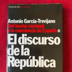 Libros de segunda mano: EL DISCURSO DE LA REPÚBLICA. ANTONIO GARCÍA-TREVIJANO. 1994. Lote 140312910