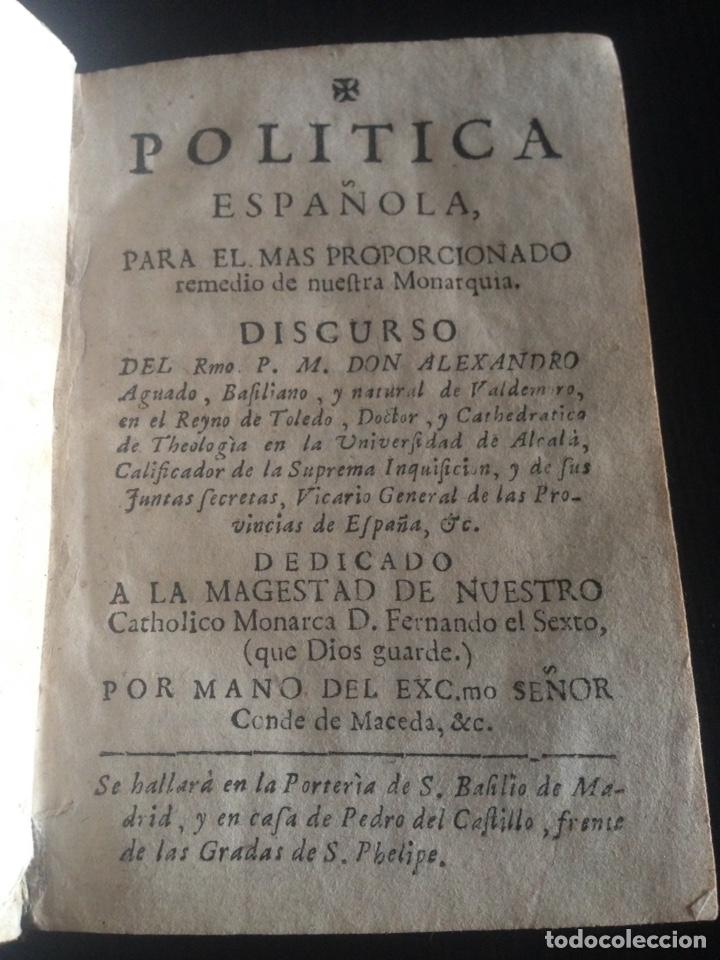 ANTIGUO LIBRO DE POLÍTICA ESPAÑOLA DE LOS AÑOS 1700 (Libros de Segunda Mano - Pensamiento - Política)