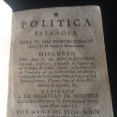 Libros de segunda mano: ANTIGUO LIBRO DE POLÍTICA ESPAÑOLA DE LOS AÑOS 1700. Lote 143956754