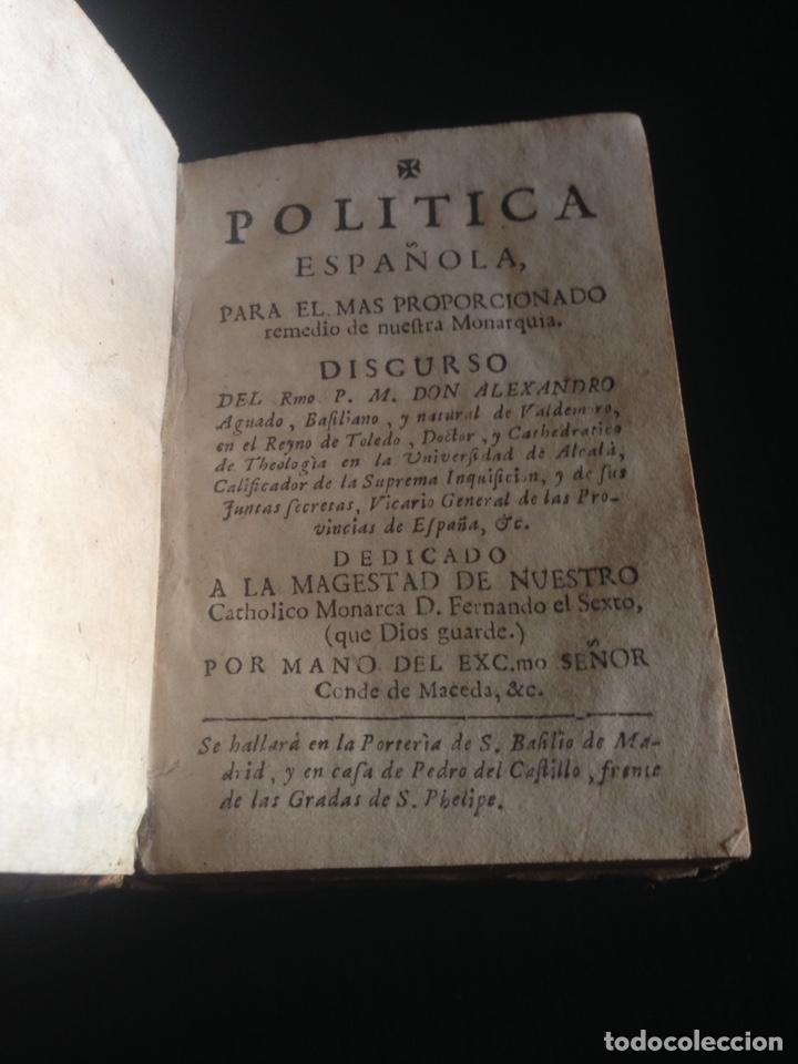 Libros de segunda mano: ANTIGUO LIBRO DE POLÍTICA ESPAÑOLA DE LOS AÑOS 1700 - Foto 3 - 143956754