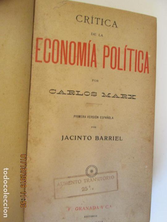 CRITICA DE LA ECONOMÍA POLÍTICA - CARLOS MARX- PRIMERA VERSIÓN ESPAÑOLA POR JACINTO BARRIEL. (Libros de Segunda Mano - Pensamiento - Política)