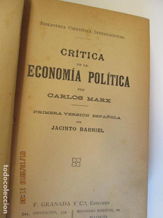 Libros de segunda mano: CRITICA DE LA ECONOMÍA POLÍTICA - CARLOS MARX- PRIMERA VERSIÓN ESPAÑOLA POR JACINTO BARRIEL. - Foto 4 - 147653774