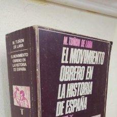 Libros de segunda mano: EL MOVIMIENTO OBRERO EN LA HISTORIA DE ESPAÑA M.TUÑON DE LARA. Lote 150387466