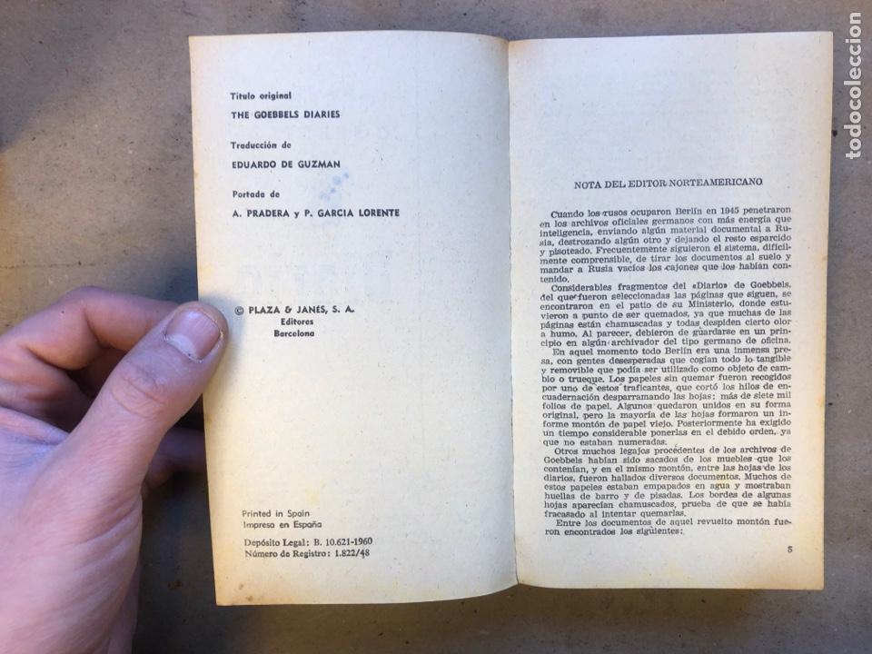 Libros de segunda mano: JOSEPH GOEBBELS, DIARIO. PLAZA & JANÉS EDITORES 1960. 543 PÁGINAS. - Foto 3 - 150526726