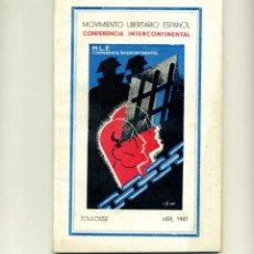 Libros de segunda mano: MOVIMIENTO LIBERTARIO ESPAÑOL - CONFERENCIA INTERNACIONAL. Lote 150591826