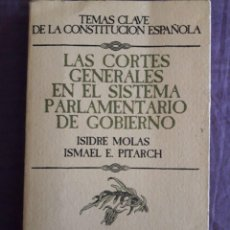 Libros de segunda mano: LAS CORTES GENERALES EN EL SISTEMA PARLAMENTARIO DE GOBIERNO / ISIDRE MOLAS E ISMAEL E. PITARCH / ED. Lote 151689474