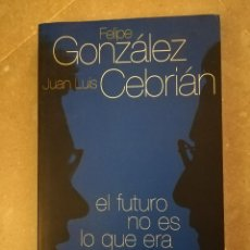 Libros de segunda mano - EL FUTURO NO ES LO QUE ERA. UNA CONVERSACIÓN (FELIPE GONZÁLEZ / JUAN LUIS CEBRIÁN) AGUILAR - 151800026
