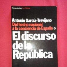 Libros de segunda mano: EL DISCURSO DE LA REPÚBLICA. ANTONIO GARCÍA-TREVIJANO 1994.. Lote 153942110