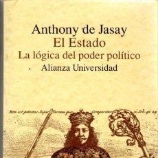 Libros de segunda mano: EL ESTADO. LA LÓGICA DEL PODER POLÍTICO / ANTHONY DE JASAY (ALIANZA UNIVERSIDAD). Lote 155597534