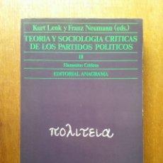 Libros de segunda mano: TEORIA Y SOCIOLOGIA CRITICAS DE LOS PARTIDOS POLITICOS, KURT LENK, FRANZ NEUMANN, ANAGRAMA, 1980. Lote 155619290
