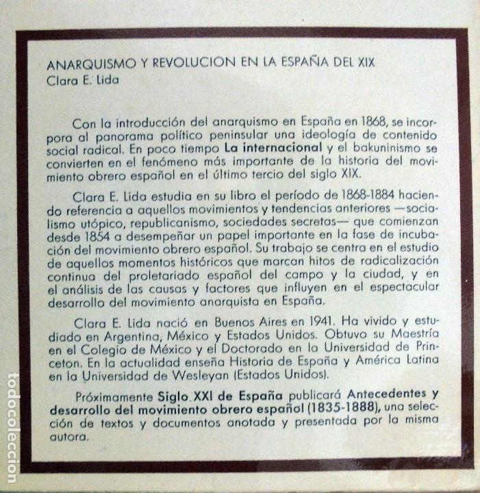Libros de segunda mano: Anarquismo y revolución en la España del XIX. - Clara E. Lida. - Foto 2 - 155825594