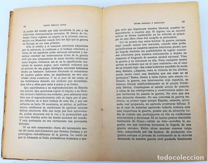 Libros de segunda mano: ENTRE HENDAYA Y GIBRALTAR. SERRANO SUÑER. EDITORIAL EPESA. MADRID 1947 - Foto 3 - 157191182