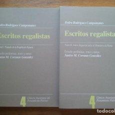 Libros de segunda mano: ESCRITOS REGALISTAS, PEDRO RODRIGUEZ CAMPOMANES, 2 TOMOS, CLASICOS ASTURIANOS PENSAMIENTO POLITICO. Lote 159899914