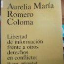 Libros de segunda mano: AURELIA MARÍA ROMERO COLOMA, LIBERTAD DE INFORMACIÓN FRENTE A OTROS DERECHOS EN CONFLICTO. Lote 161260702