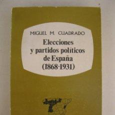 Libros de segunda mano: ELECCIONES Y PARTIDOS POLÍTICOS DE ESPAÑA (1868-1931) - TOMO I - MIGUEL M. CUADRADO - TAURUS.. Lote 164196374