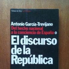Libros de segunda mano: EL DISCURSO DE LA REPUBLICA, ANTONIO GARCIA TREVIJANO, DEL HECHO NACIONAL A LA CONCIENCIA DE ESPAÑA. Lote 165907362