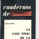 Libros de segunda mano: IGNACIO IGLESIAS - CUADERNOS DE FRENTE LIBERTARIO, 1 - LA FASE FINAL DE LA GUERRA CIVIL - 1975. Lote 167552456