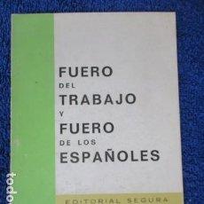 Livres d'occasion: FUERO DEL TRABAJO FUERO DE LOS ESPAÑOLES. Lote 168122680