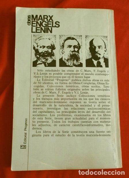 Libros de segunda mano: EL ORIGEN DE LA FAMILIA (1986) ENGELS (EDICION IMPRESA EN LA URSS) ED. PROGRESO MOSCU - Comunista - Foto 3 - 168193728