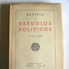 Libros de segunda mano: REVISTA DE ESTUDIOS POLITICOS - Nº 50. 1950 - FRANCISCO JAVIER CONDE ( DIRECTOR ). Lote 168766916