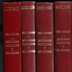 Libros de segunda mano: OBRAS ESCOGIDAS. MANUEL AZAÑA. CUATRO VOLÚMENES. MEMORIAS POLÍTICAS Y DE GUERRA.. Lote 170472889