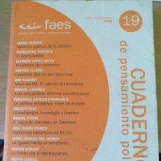 Libros de segunda mano: CUADERNOS DE PENSAMIENTO POLITICO. Nº 19. JULIO/SEPTIEMBRE 2008.. Lote 171683728