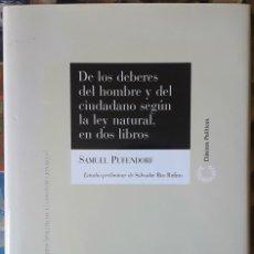 Libros de segunda mano: SAMUEL PUFFENDORF . DE LOS DEBERES DEL HOMBRE Y DEL CIUDADANO SEGÚN LA LEY NATURAL, EN DOS LIBROS. Lote 175315790