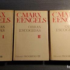 Libros de segunda mano: OBRAS ESCOGIDAS (I-II-III) - C. MARX / F. ENGELS . - EDITORIAL PROGRESO MOSCU,1981. Lote 194765350