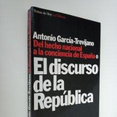 Libros de segunda mano: EL DISCURSO DE LA REPÚBLICA, ANTONIO GARCÍA-TREVIJANO, EDICIONES TEMAS DE HOY. . Lote 178338523